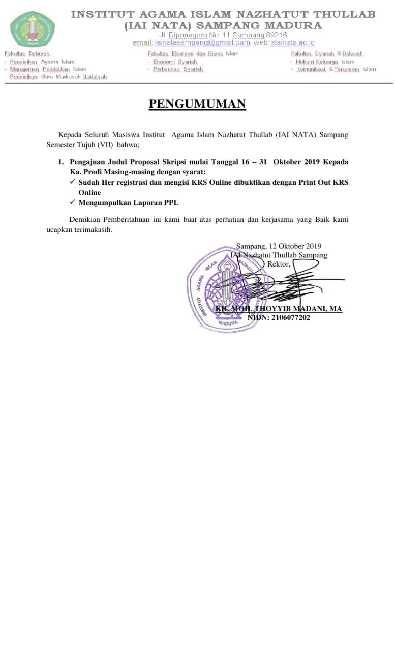Website Resmi Stainata Sampang Madura Pengumuman Pengumpulan