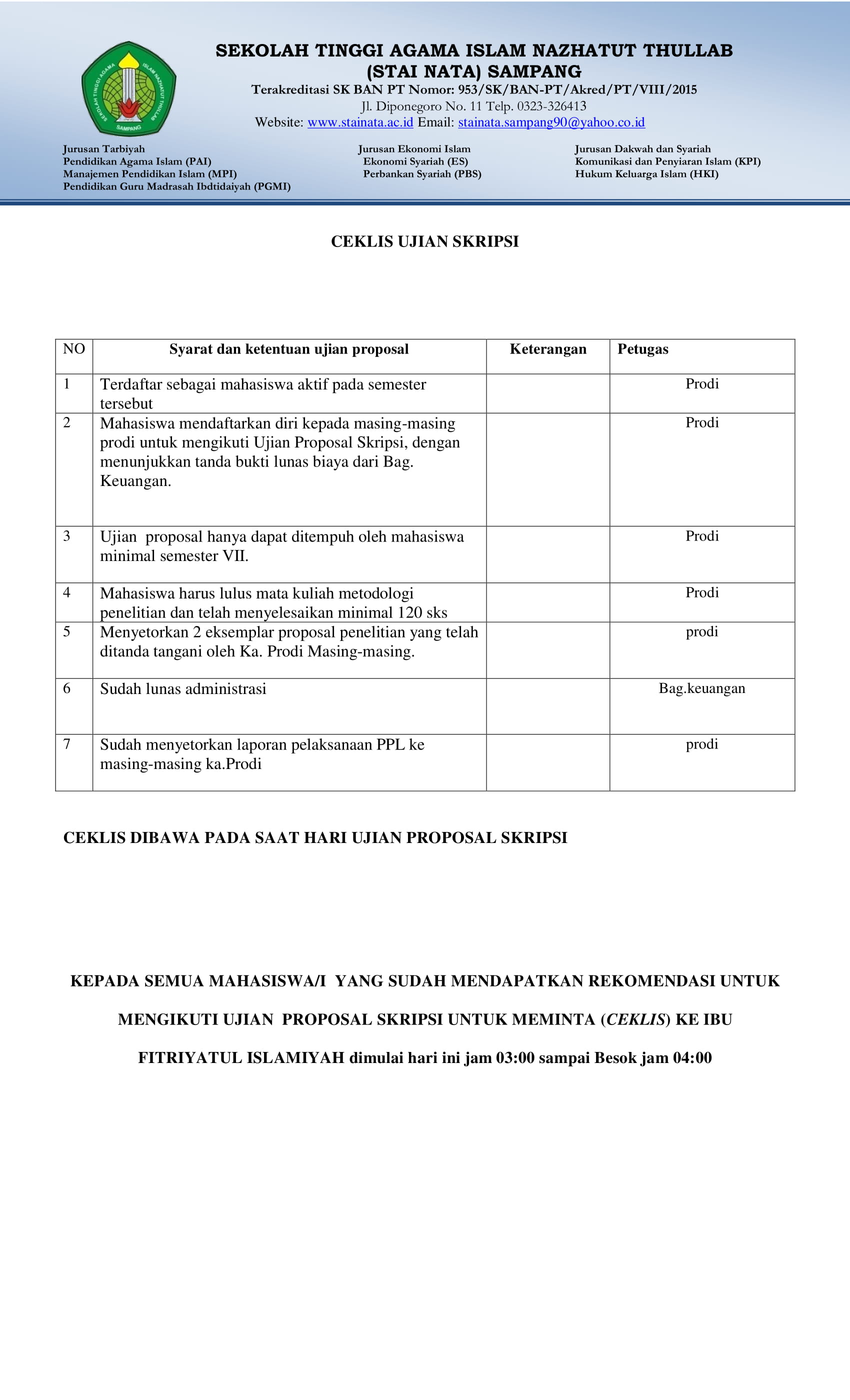 Website Resmi Stainata Sampang Madura Ceklist Pengumpulan